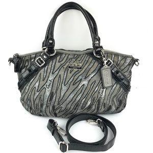 RARE Coach Silver Zebra Print Distressed Bag